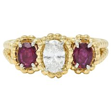 Oscar Heyman 1.07 CTW Diamond Ruby 18 Karat Gold Platinum Three Stone Ring