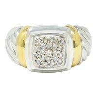 David Yurman Pave Diamond 18 Karat Gold Silver Noblesse Ring