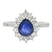 Contemporary 1.66 CTW Sapphire Diamond 18 Karat White Gold Cluster Ring