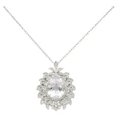 Large Kunzite Diamond 18 Karat White Gold Foliate Cluster Pendant Necklace