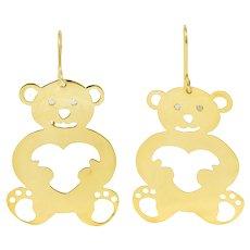 Roberto Coin Diamond 18 Karat Gold Pierced Heart Bear Drop Earrings