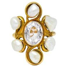 1900 Arts & Crafts Pink Topaz Baroque Pearl 14 Karat Gold Cluster Ring