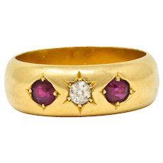 British Victorian Ruby Diamond 18 Karat Gold Gypsy Band Ring