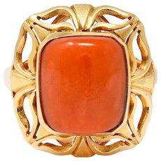 Retro Coral Cabochon 14 Karat Gold Floral Statement Ring