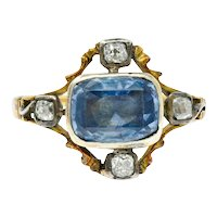 1780's Georgian 2.35 CTW Sapphire Diamond Silver-Topped 18 Karat Gold Ring