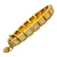 Victorian Enamel 18 Karat Gold Flower Link Child's Bracelet Circa 1880s