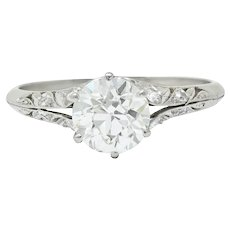 Early Art Deco 1.58 CTW Diamond Platinum Lotus Engagement Ring