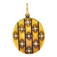Victorian Enamel Natural Freshwater Pearl 14 Karat Gold Locket Pendant