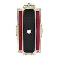 Art Deco Enamel Diamond 18 Karat White Gold Locket Pendant