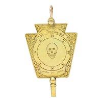 1860's Victorian 14 Karat Gold Freemason Skull Watch Key Pendant