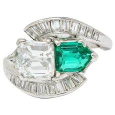 1950's Mid-Century 3.46 CTW Diamond Emerald Platinum Cocktail Ring
