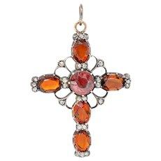Victorian Garnet Citrine Diamond Silver-Topped 14 Karat Gold Cross Pendant