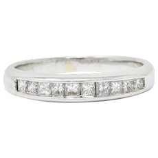 Contemporary 0.45 CTW Diamond 18 Karat White Gold Channel Band Ring