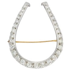 Edwardian Diamond Platinum-Topped 14 Karat Gold Horseshoe Brooch
