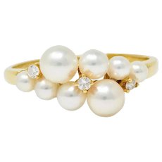 Mikimoto Vintage Diamond Cultured Pearl 18 Karat Gold Cluster Ring