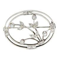 Edwardian Diamond Platinum-Topped 18 Karat White Gold Floral Brooch