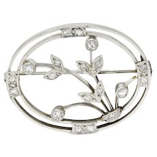 Edwardian Diamond Platinum-Topped 18 Karat White Gold Floral Brooch