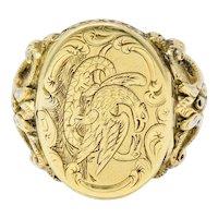Art Nouveau 14 Karat Gold Unisex Eagle & Snake Portrait Signet Ring