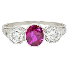 1920's Art Deco 2.03 CTW No Heart Burma Ruby Diamond Platinum Three Stone Ring GIA