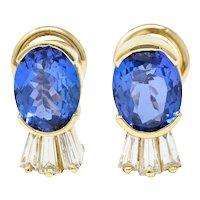 Contemporary 3.32 CTW Tanzanite Diamond 14 Karat Gold Earrings