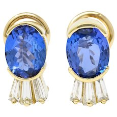 Contemporary 3.32 CTW Tanzanite Diamond 14 Karat Gold Earrings