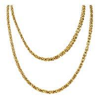 Vintage 18 Karat Gold Byzantine 47 Inch Long Chain Necklace