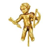 1880's Victorian 14 Karat Yellow Gold Cupid Stickpin