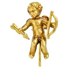 1880's Victorian 14 Karat Yellow Gold Cupid Stickpin