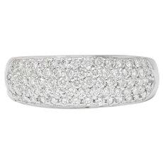 Contemporary 1.10 CTW Pave Diamond Platinum Band Ring