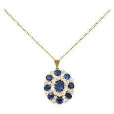 Edwardian 8.80 CTW Sapphire Diamond 14 Karat Gold Cluster Pendant Necklace