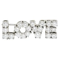 Donald Claflin Tiffany & Co. 2.16 CTW Diamond Platinum Love Brooch