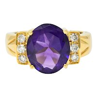 Amethyst Diamond 18 Karat Gold Gemstone Statement Ring