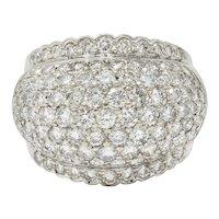 Vintage 4.90 CTW Pave Diamond 18 Karat White Gold Bombe Band Ring