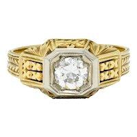Art Deco Diamond 18 & 14 Karat Two Tone Gold Unisex Octagonal Ring