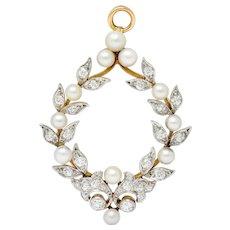 Shreve & Co. 1.00 CTW Diamond Pearl Platinum-Topped 18 Karat Gold Laurel Wreath Pendant