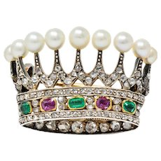 Victorian Diamond Emerald Ruby Pearl Silver-Topped 14 Karat Gold Crown Brooch