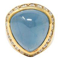 Vintage 18.75 CTW Aquamarine Diamond 14 Karat Gold Unisex Statement Ring