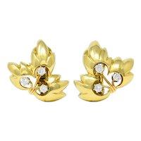 1995 Tiffany & Co. 0.65 CTW Diamond 18 Karat Gold Leaf Ear-Clip Earrings