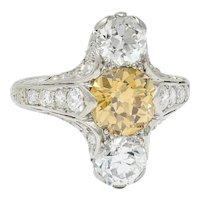 Art Deco 2.62 CTW Fancy Diamond & White Diamond Platinum Three Stone Dinner Ring