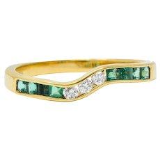 Contemporary 0.35 CTW Emerald Diamond 18 Karat Gold Chevron Band Ring