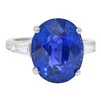 Exquisite Tiffany & Co. 12.17 CTW No Heat Ceylon Sapphire Diamond Platinum Three Stone Ring AGL