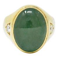 Retro Jadeite Jade Diamond 14 Karat Gold Unisex Cabochon Ring GIA