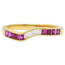 Contemporary 0.50 CTW Ruby Diamond 18 Karat Gold Chevron Band Ring