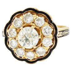 Art Deco Enamel 2.20 CTW Diamond 14 Karat Gold Cluster Ring