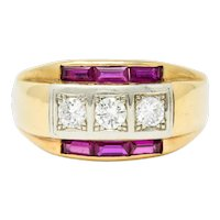 1940's Retro 1.26 CTW Diamond Ruby 14 Karat Two-Tone Band Ring