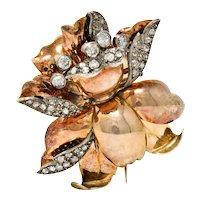 1860's Victorian 1.70 CTW Diamond Silver-Topped 14 Karat Rose Gold Flower Brooch