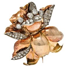 1860's Victorian 1.70 CTW Diamond Silver-Topped 14 Karat Rose Gold Flower Brooch