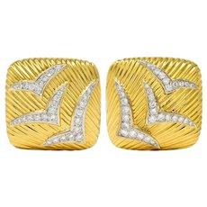1980's Vintage 2.64 CTW Diamond 14 Karat Gold Seagull Earrings