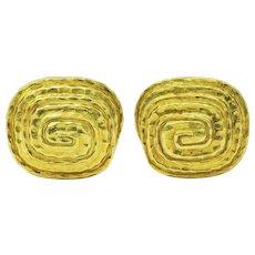 David Webb Vintage 18 Karat Gold Hammered Spiral Men's Cufflinks