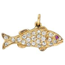 Art Nouveau Pave Diamond Ruby 14 Karat Gold Fish Charm